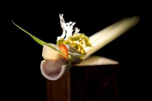Alinea dish titled: OYSTER sesame, tosaka, lemongrass